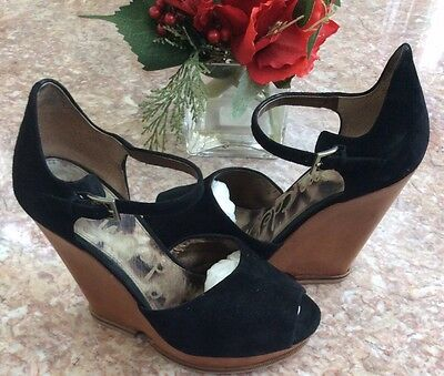 bcab1613b55535 Sam Edelman Black Suede Leather Open Toe Wedge Heel Sandals Shoes Sz 7.5M  EUC