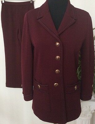 ST.JOHN Collection by Marie Gray Women's Knit Burgundy 2 Piece Pant Suit Size 2.