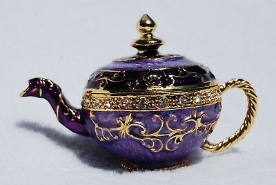 Swarovski Crystal Bejeweled Enamel Hinged Trinket Box - Purple Teapot
