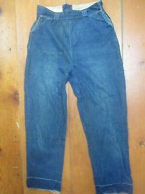 30 x 28 no tag 1930/40s vintage side zip mule-eared pockets full-seat blue jeans