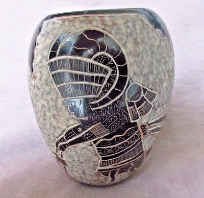 SANTA CLARA Hand Coiled Pueblo Pottery Etched Ram Dancer By Dan Tafoya P0014
