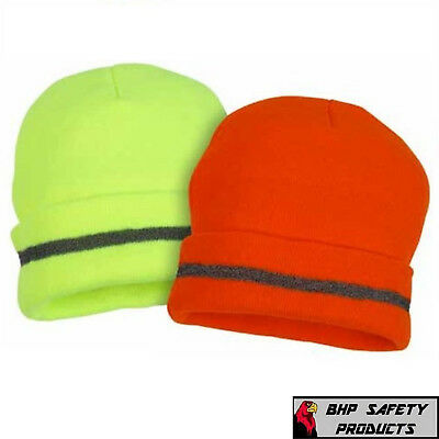 Neon Yellow Or Orange Winter Knit Safety Beanie Reflective Cap Hat (1 Each)