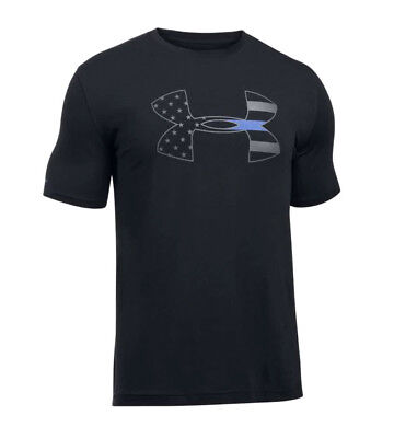 Under Armour UA Freedom BFL Thin Blue Line Charged Cotton® Black T-Shirt
