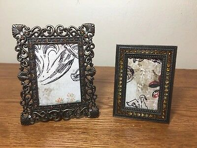 Pair Of Small Vintage Antique Style Jeweled Picture Photo Frames