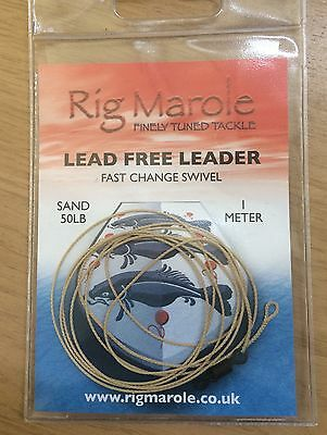 Rig Marole Lead Free Leader 50lb 1m  Sand, Black or Green