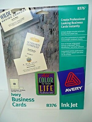 8376 Avery Business Cards - Ivory - 13 Sheets = 130 Cards