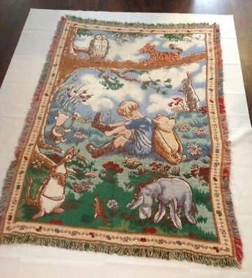 Vintage Winnie The Pooh Classics Tapestry Blanket Throw Disney Cotton US Made