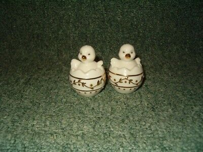 Lenox Shakers Easter Holiday Gems Egg Baby Chick Set Salt and Pepper RARE
