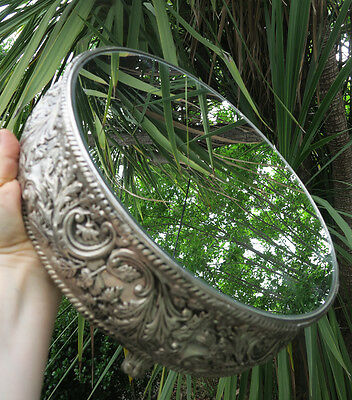 Vintage round Gilt metal brass silver plate Vanity MIRROR Tray Display plateau