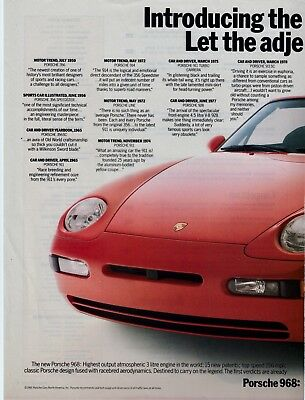 "1992 Porsche 968 2 Page Print Advertisement - ""Let the Adjectives Fly."""