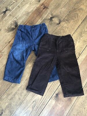 2 Pairs Baby Boys Trousers Mothercare & Next Cord Jeans 12-18 months