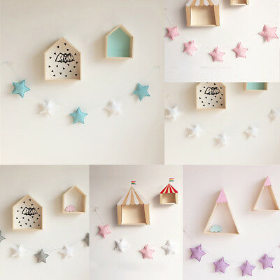 Uk_ Nordic 5Pcs Stars Hanging Ornaments Banner Bunting Party Kid Bed Room Decor