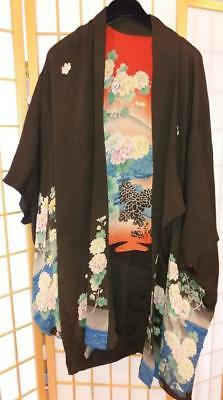 Vintage Kimono with Floral Designs-Double Sided-One Size Fits All