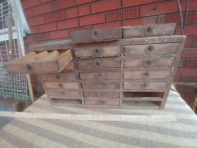 VINTAGE multi DRAWER WOODEN APOTHECARY clock makers cabinet storage organizer