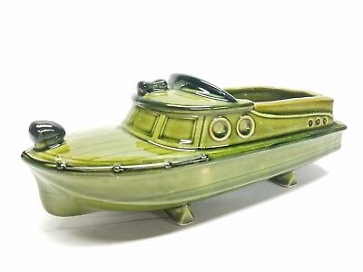 Vtg RELCO Avocado Green Boat Succulent Cactus Small Plant Planter Japan Mid Cent