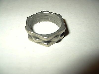 Vintage Men's Silvertone Pewter Modernist Artisan Ring - Size 10 1/2