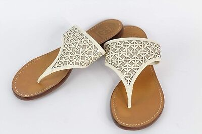 8670819f5f80b0 Tory Burch Miller Sandal Thong Flat Shoes Tan Beige Sand Leather Logo Size  9M