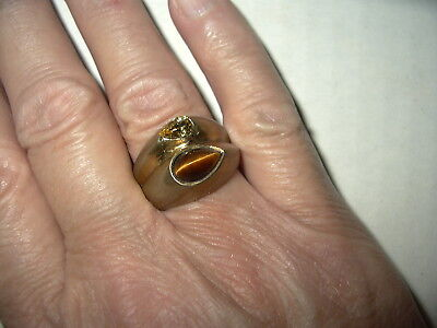 Vintage Artisan Modernist Unisex Gold/Brass Tigers Eye & Crystal Ring Size 8 1/2