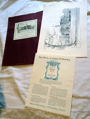 FOUR SKETCHES OF Colonial Williamsburg For Framing by Chatles Overly ...