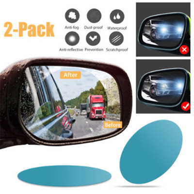2PCS Oval Car Auto Anti Fog Rainproof Rearview Mirror Protective Film Useful