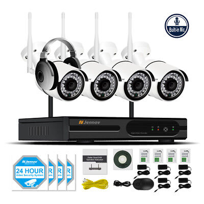 Wireless Security Camera System 4CH 1080P WIFI NVR Kit Outdoor Audio CCTV Set