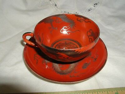 BEAUTIFUL Antique Japanese Kutani 19th C. Iron Red Cup & Saucer Porcelain_4