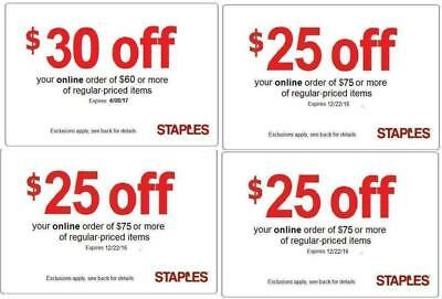 4 (COUPONS)🌟 1X Staples $30 off $60 AND 3X $25 off 75 online/phone 🌟 EXP 11/18