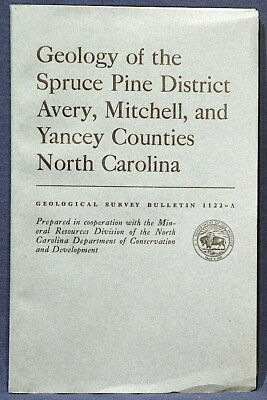 USGS SPRUCE PINE District GEOLOGY North Carolina NC Vintage 1962 With ALL MAPS!
