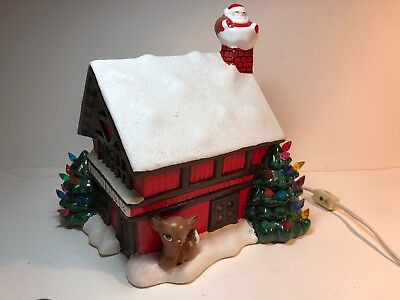 Vintage Ceramic Christmas House Santa on Roof CeramicTree on Corner deer in yard