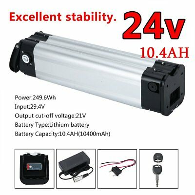 24V 10.4AH  Lithium Battery Li-ion For Electric Bicycle E Bike Kit +Charger HM