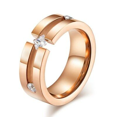 Women's Princess Cut CZ Bands 8mm Rose Gold/Silver Titanium Steel Ring Size 6-11