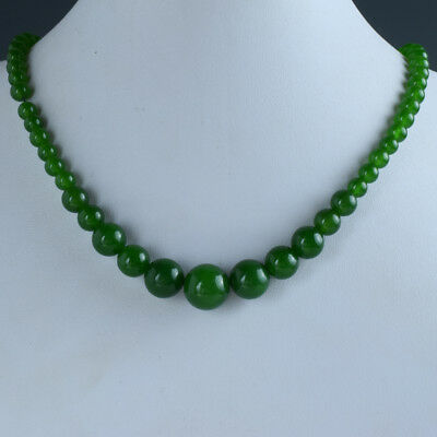 Chinese Natural Jade Handwork Carved Beads Necklace    E953