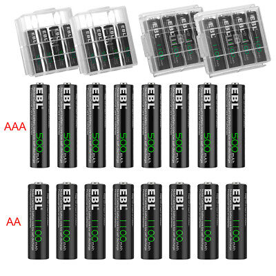 EBL 4/8/12/16/20 AA AAA Ni-Cd Rechargeable Batteries Pack 1.2V 1100mAh/500mAh US
