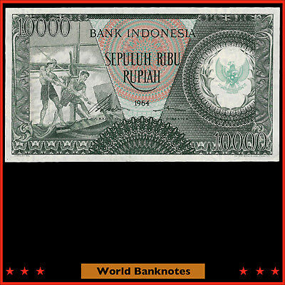 WB. Indonesia 1964 10000 Rupiah P# 101 Fancy Serial # 06363