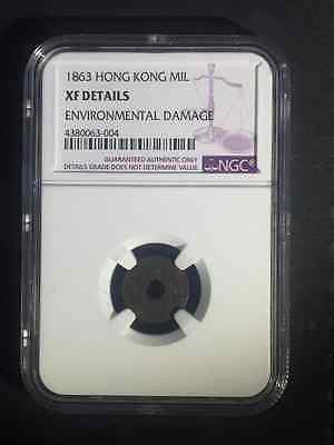 Hong Kong 1863 one mil NGC XF Details Surface Hairlines