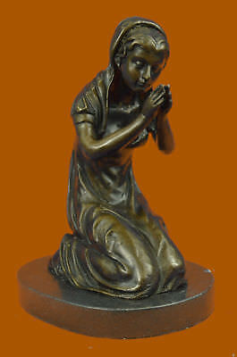 Handcrafted Bronce Escultura Venta Mármol Praying Mary Virgen Madre Blessed Gift