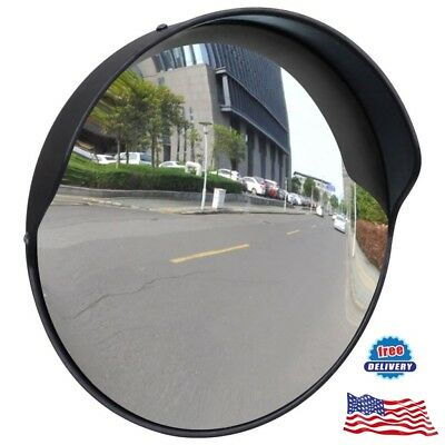 "12"" Outdoor Road Traffic Convex Safety PC Mirror Wide Angle Driveway Security"