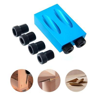 Pocket Hole Jig Kit 6/8/10mm 15° Angle Adapter Drill Guide Woodworking Adapter