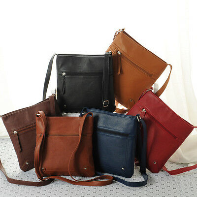 Ladies Women Leather Satchel Cross Body Messenger Bag Handbag Shoulder Bag UK