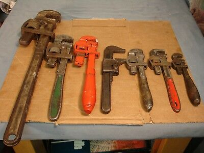 7 Vintage Pipe Wrenches Stillson 6 8 10 10  Ford M JSB 8 USA 18 USED