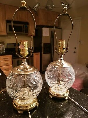 Pair of Vintage Round Brass Crystal Lamps Etched Floral