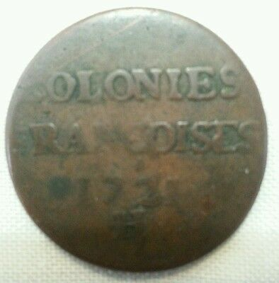 1721 H french colonies sou 9 deniers us colonial canada