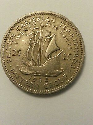 BRITISH CARIBBEAN TERRITORIES EASTERN GROUP  25 Cents Cupro-nickel 1955  coin