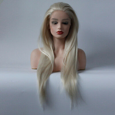 "AU 24"" Pastel Blonde Women Straight Party GlueLess Lace Front Wig Synthetic Hair"