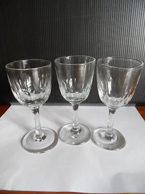 3 Antique 1860's+ Victorian glass stemware sherry port glasses clear blue tinge