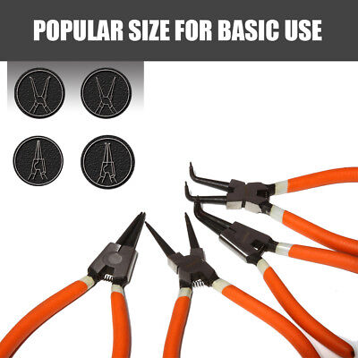 "4Pc 7"" Circlip Pliers Set Internal External Bent Straight Snap Ring Remove Tool"