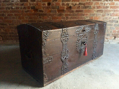 Magnificent Antique Trunk Chest Coffer Solid Oak Moorish18th Century Georgian
