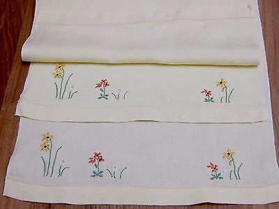 Vintage Pair Of Small Embroidered Pale Yellow Linen Huckaback Hand Towels