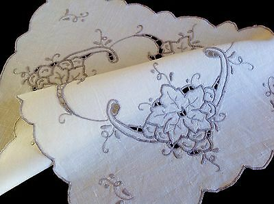 Vintage Hand Embroidered Off White Linen Table Centre Cloth