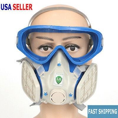 Respirator Mask Double Filter Air Breathing Chemical Protection Full Face Hot